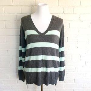 GAP mint charcoal bells stripe v-neck sweater